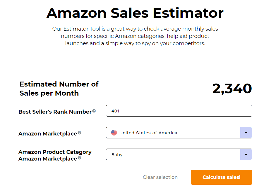 Junglescout Amazon Sales Estimator estimation result