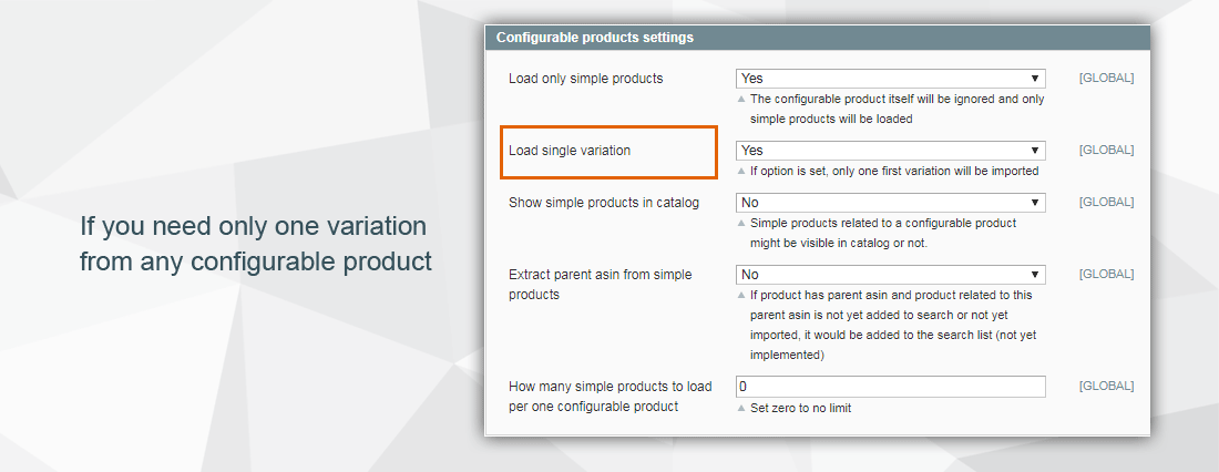 Amazon extension - option for variation products import