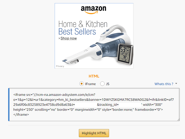 Amazon Affiliate Program - Responsive Banner Link example