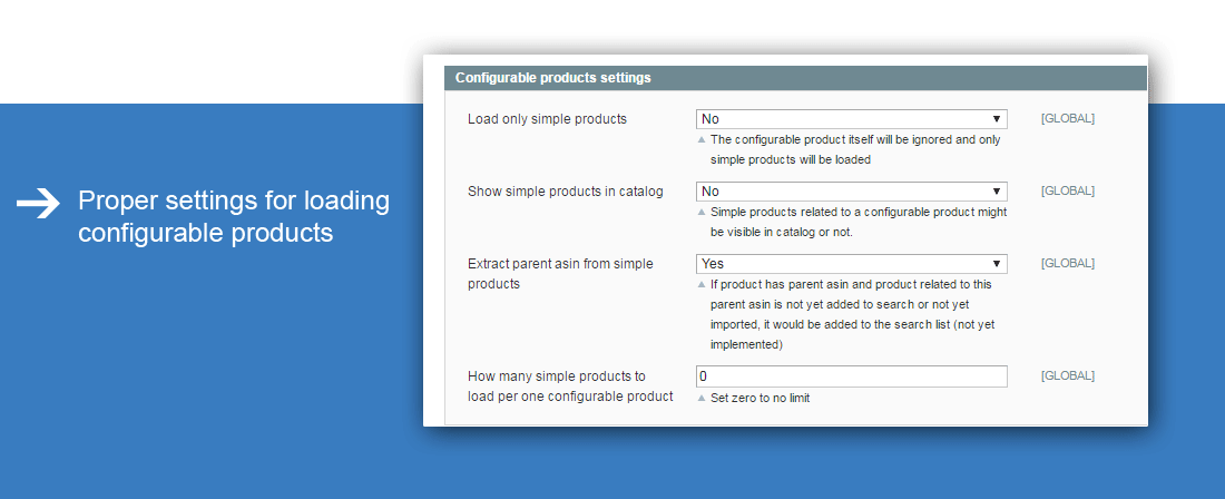Amazon Import - Configurable products settings in Magento