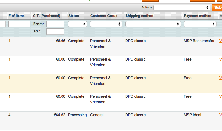 Magento Extended Order Grid plugin features