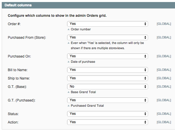 Magento Extended Order Grid plugin admin side