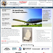 Magento Store Aerosheep.com - FAA approved custom aircraft sheepskin and leather seat covers from AeroSheep!