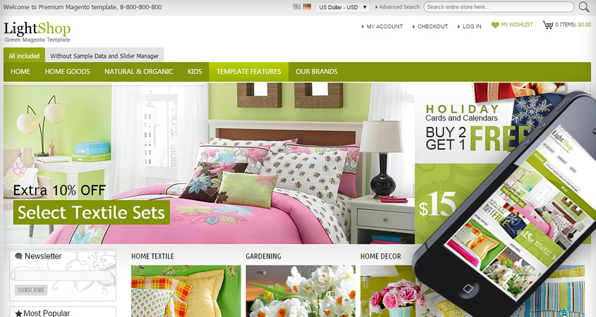 LightShop Green Magento Template
