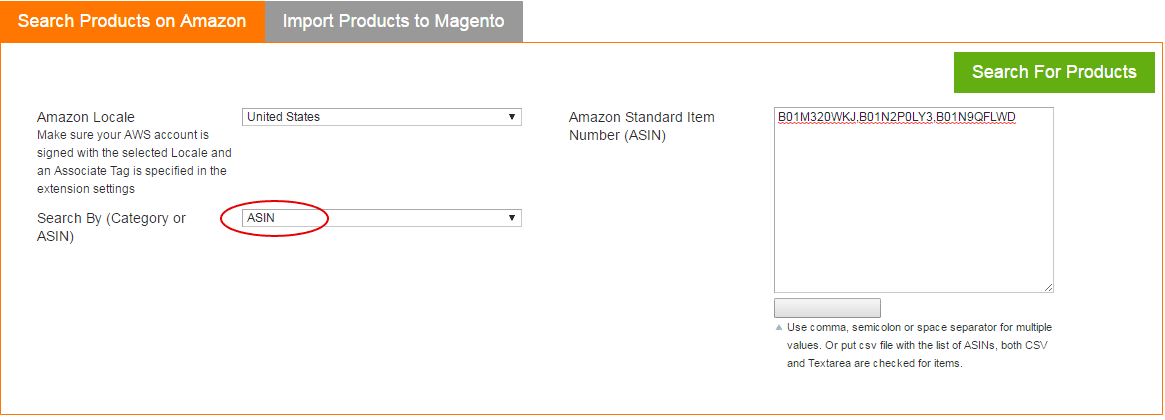 Amazon Magento extension - search by ASIN option