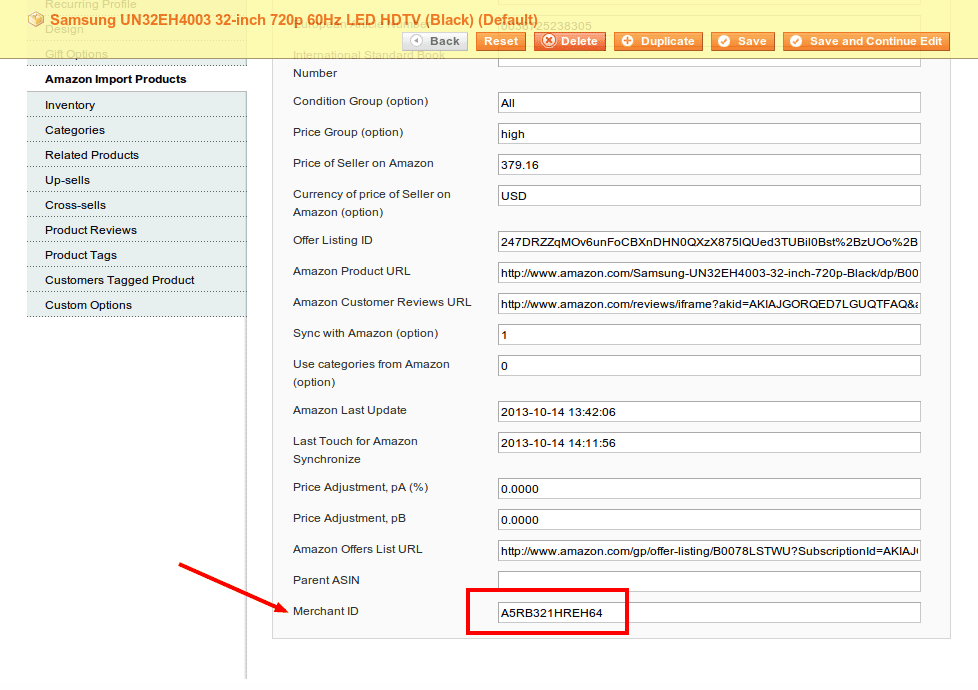Amazon Merchant ID option in the Magento extension settings