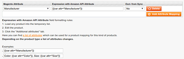 Load attributes from the Amazon API - Attribute mapping -  Amazon Product Manager Magento Extension
