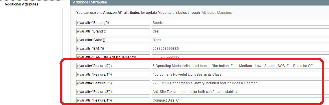 Magento Amazon - additional product attributes
