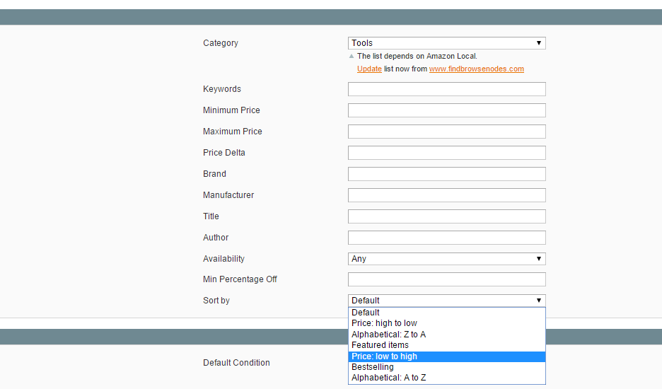 Magento Amazon product import options