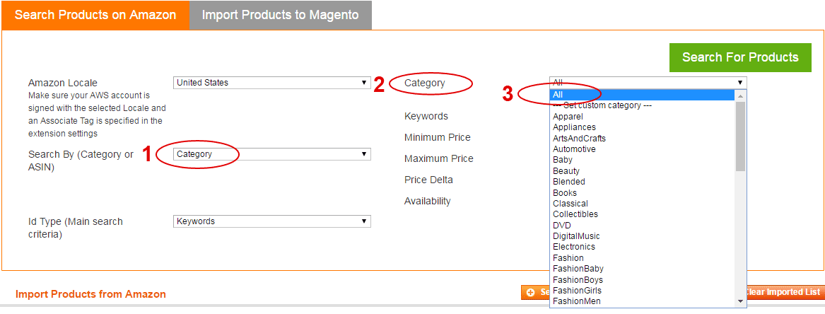 Amazon Magento extension - choose category to filter
