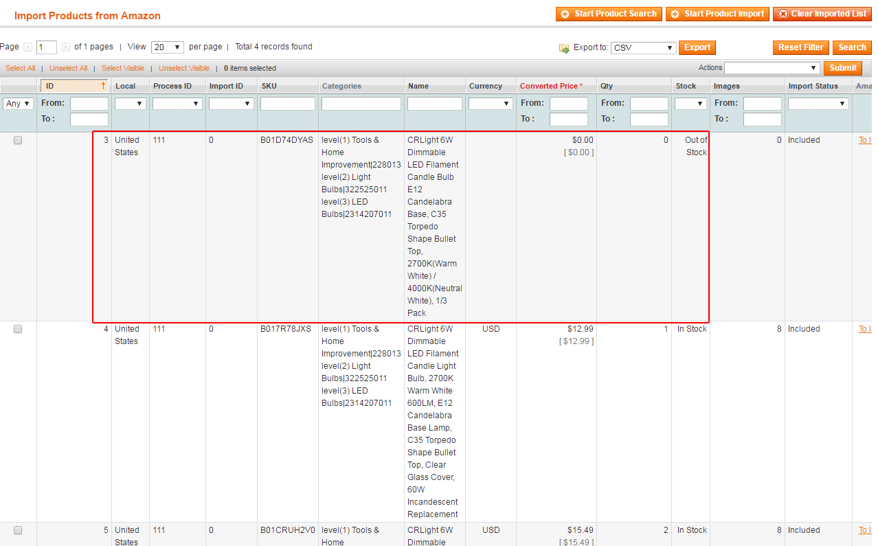 Amazon Import to Magento - variations and one configurable product