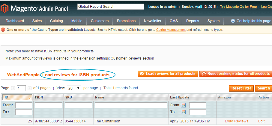Magento load amazob reviews by ISBN