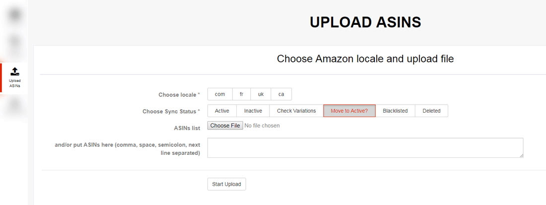 Amazon Data Extraction Engine - upload ASINs into databsase