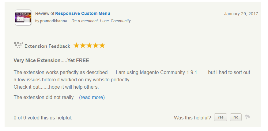 Review from Magento connect - Overall Developer Support