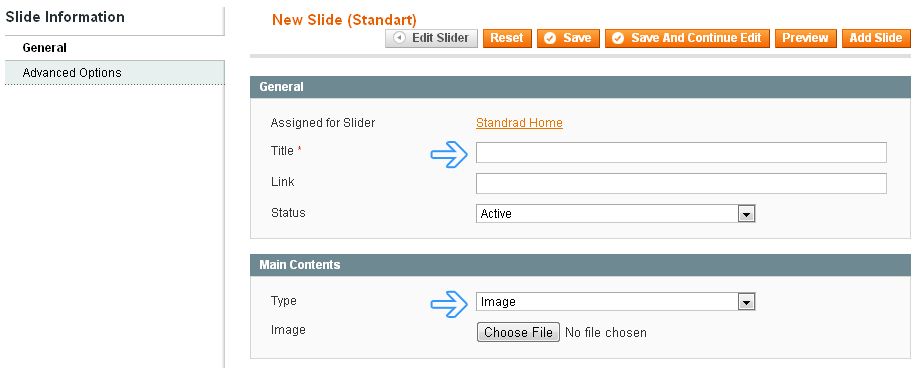 Magento Slider Manager - slide parameters