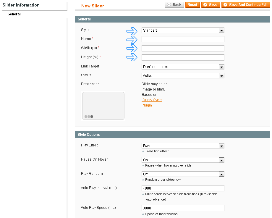 Magento Slider Manager - Select slider style