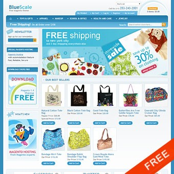 Bluescale Free Magento theme