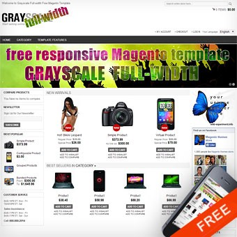 Grayscale Full-width Free Magento theme