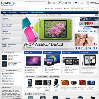 LightShop Blue Magento theme