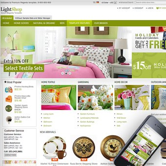 LightShop Green Magento theme