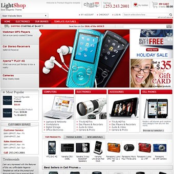 LightShop Red Magento theme